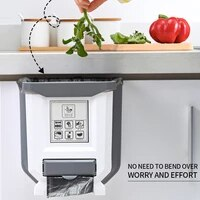 new 9l foldable kitchen garbage can car folding plastic garbage can wall trash can for kitchen trashcan