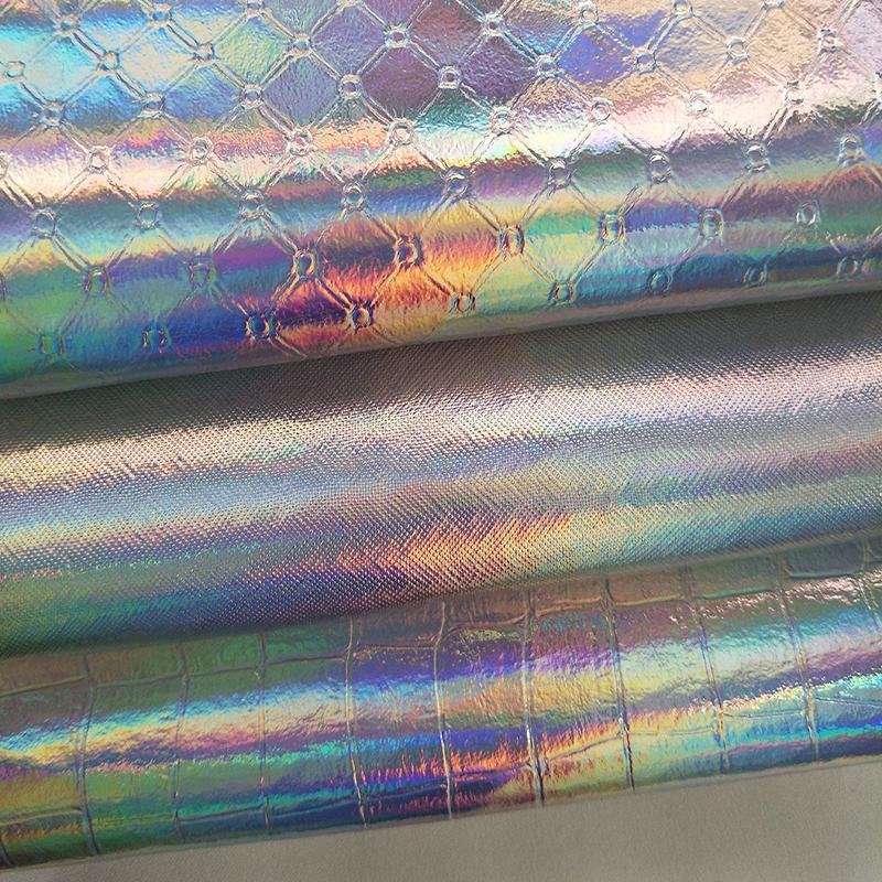 Cuero sintético impermeable de 1 metro, tejido brillante, arcoíris, espejo, tela de...