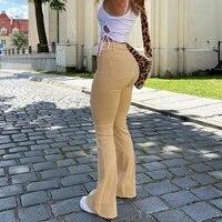 womens jeans woman high waist flared jeans khaki black brown pants womens pants for women clothing trouser jean women trousers