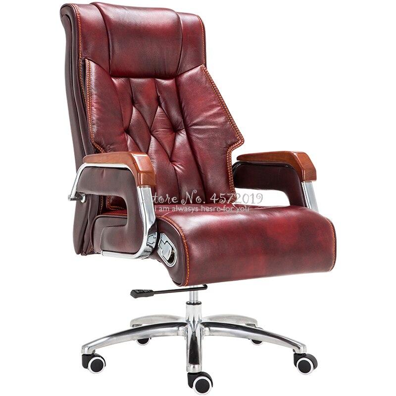 Silla de ordenador de casa, silla de cuero para Jefe, silla de oficina de masaje reclinable, silla ejecutiva de cuero para oficina de elevación