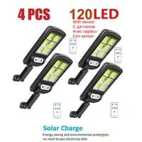 4pcs tabular oblong solar powered lamp solar street light for outdoor garden wall yard led security lighting adustable lighting