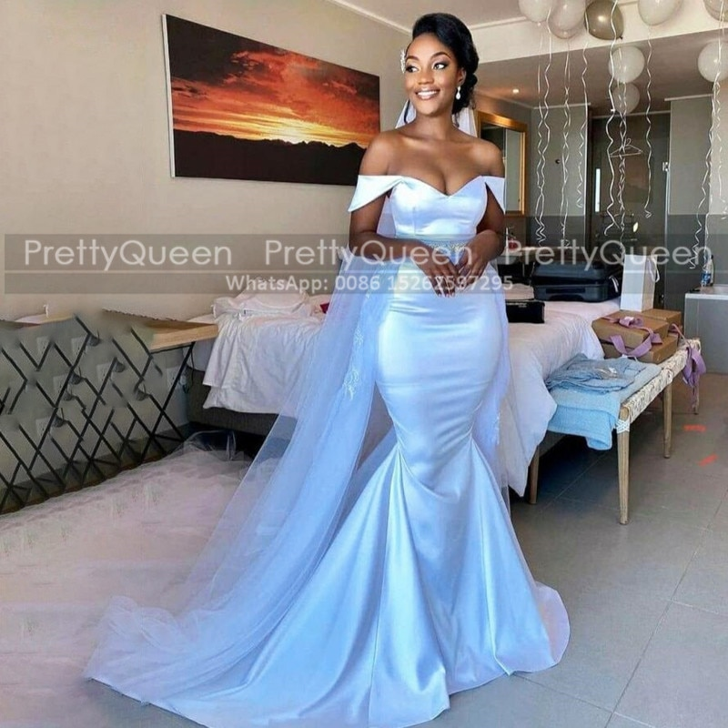 Review Sexy Off Shoulder Mermaid Wedding Dress For Women White Satin Sweep Train Long Vestido De Noiva Bridal Dresses Gown