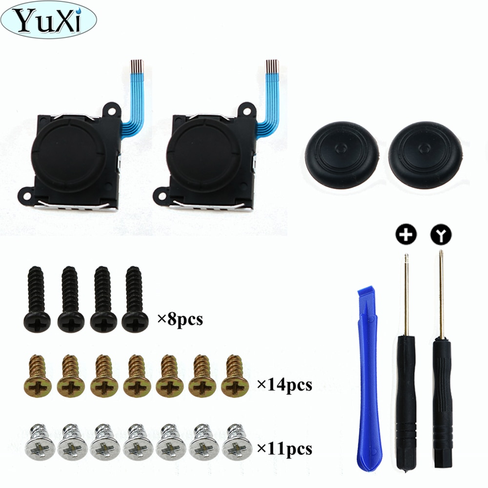 Yuxi 3d analog gamepad polegar para nintend switch ns alegria con joystic sensor módulo ferramenta de reparo e parafusos conjunto completo para joycon