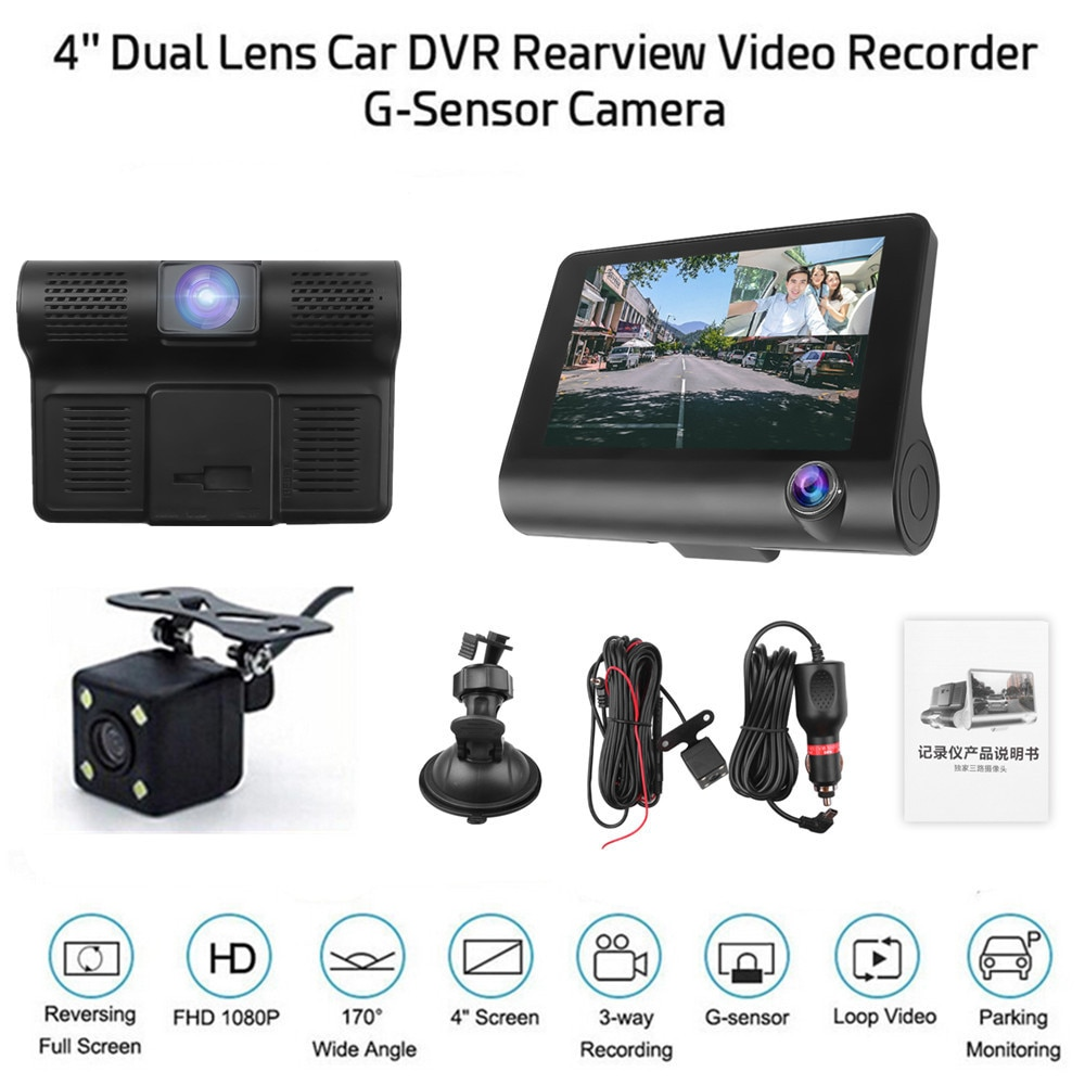 3 lentes en un coche DVR Video Recorder G sensor videocámara registrador Dash-Cam Full 1080p con cámara de control de aparcamiento Rearwiew