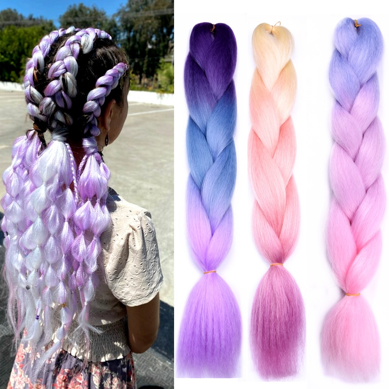 Full Star 24Inch 100g Jumbo Braiding Hair Synthetic Ombre Hair For Women Blonde Golden Green Brown Colorful Hair Soft  Install