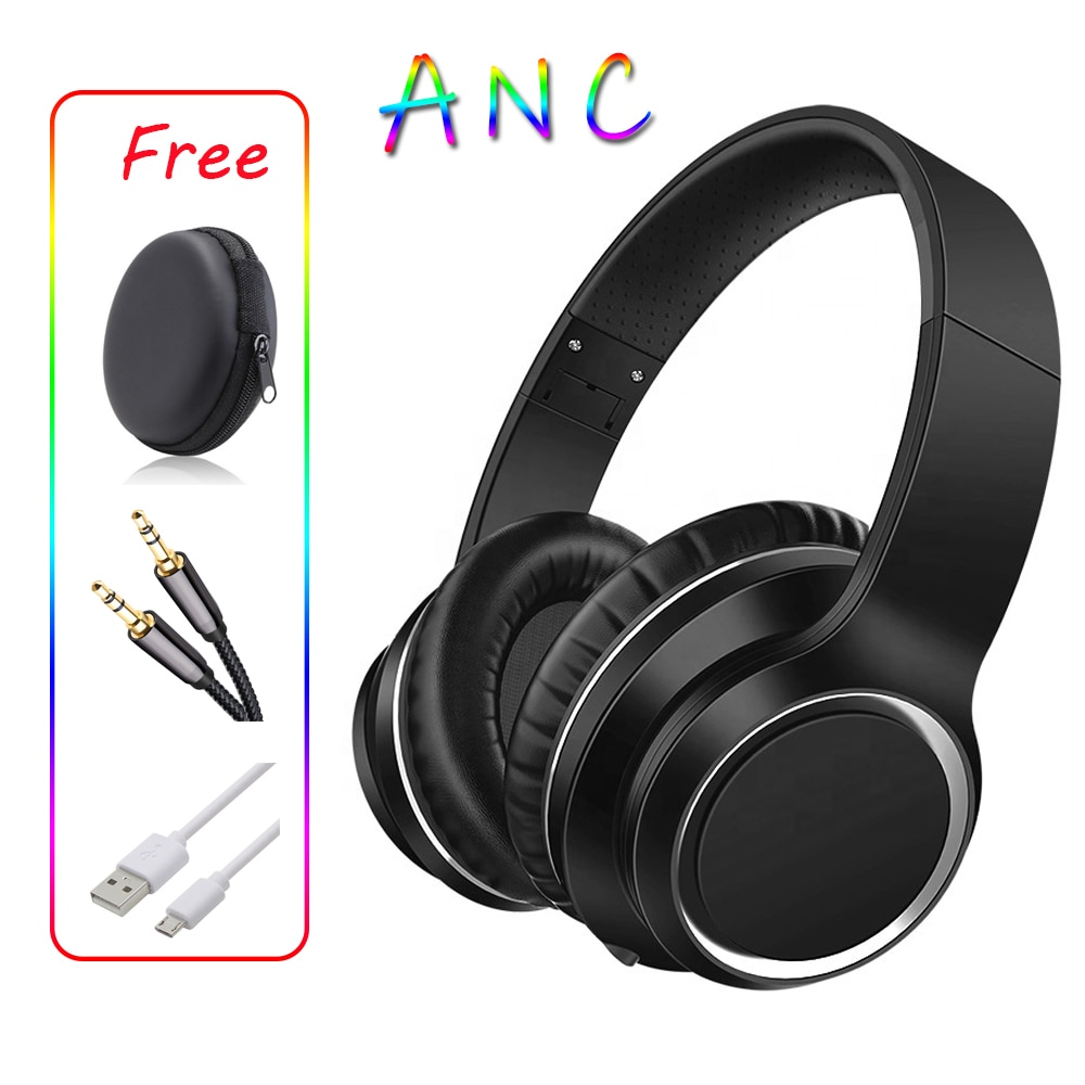 Active Noice Cancelling ANC Bluetooth Headphone Headset Over Ear Foldable with Mic Bag Bass Hifi for