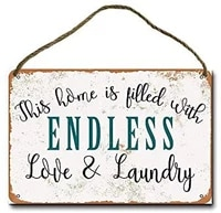 metal sign 8 x 12 inch this home is filled with endless love and laundry wall decor hanging sign