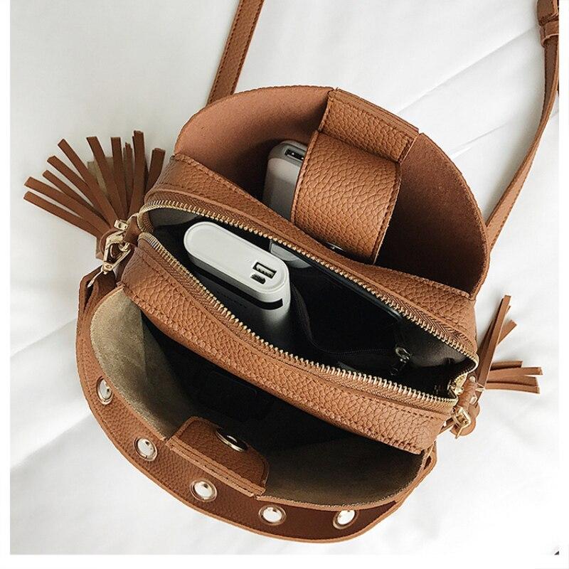 2020 New Fashion Scrub Women Bucket Bag Vintage Tassel Messenger Bag High Quality Retro Shoulder Bag Simple Crossbody Bag Tote
