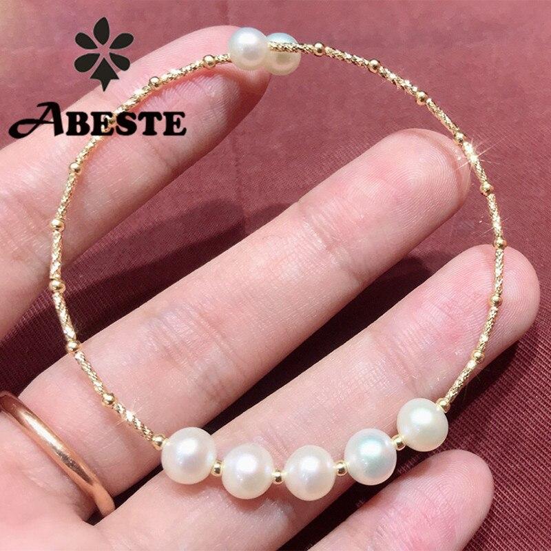 ANI 18K oro amarillo hecho a mano mujeres brazalete de agua dulce perla blanca oorbellen oro pulsera boucle d oreille joyería de perlas finas