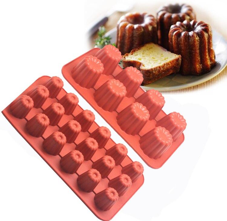 8/18 molde de huecos pequeños de silicona Paige los Canneles Bordelais estriado...