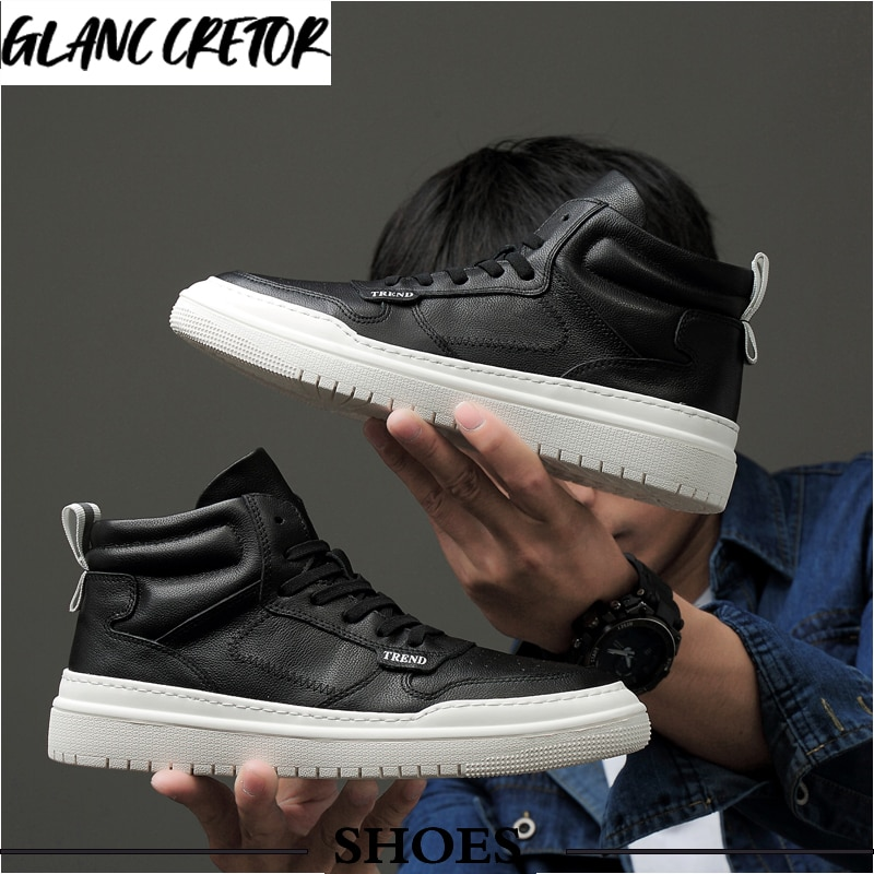 Luxury Brand mens casual sneakers waterproof lace up flats solid color shoes Men shoes leather fashi