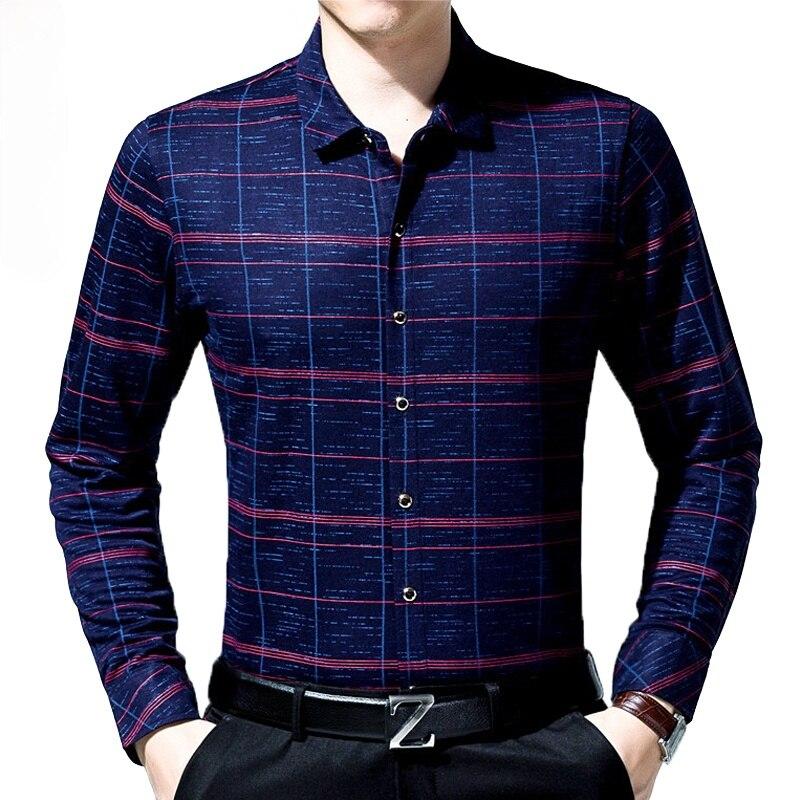 2021 Мужская модная брендовая Повседневная Деловая приталенная Мужская рубашка Camisa, клетчатая рубашка с длинным рукавом, рубашка, платье, оде...