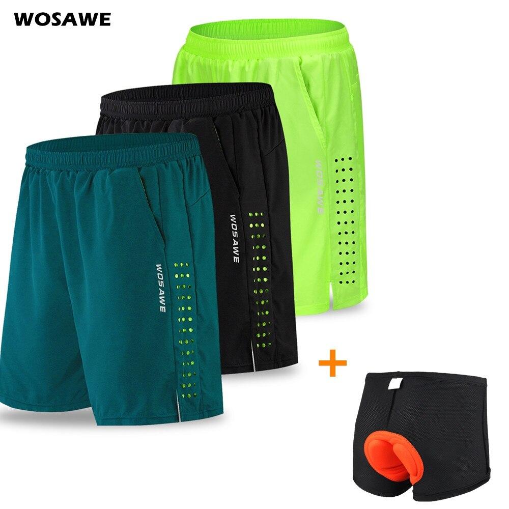 Wosawe calções de ciclismo dos homens com almofada de gel ciclismo roupa interior mountain bike downhill shorts soltos ao ar livre mtb bicicleta shorts