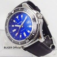 Classic BLIGER 44mm Blue Dial Black Ceramic Bezel Steel Case Auto Date Display Automatic Movement Men's Watch