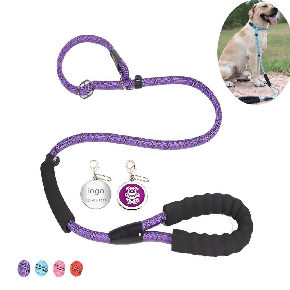 Customizable Durable Dog Leash Reflective Nylon Pet Walk Lead Rope Adjustable Collar Harness For Small Medium large Dogs