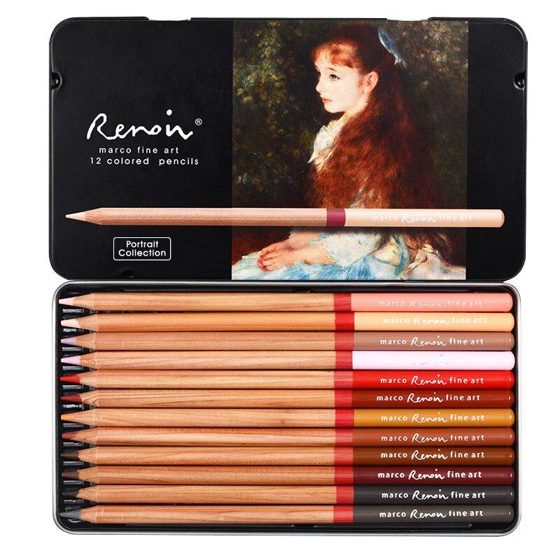Marco Renoir 12 Colors Oil Color Pencil Landscape Design Colors Pencil Hand-painted Oily Crayons Professional Drawing Set
