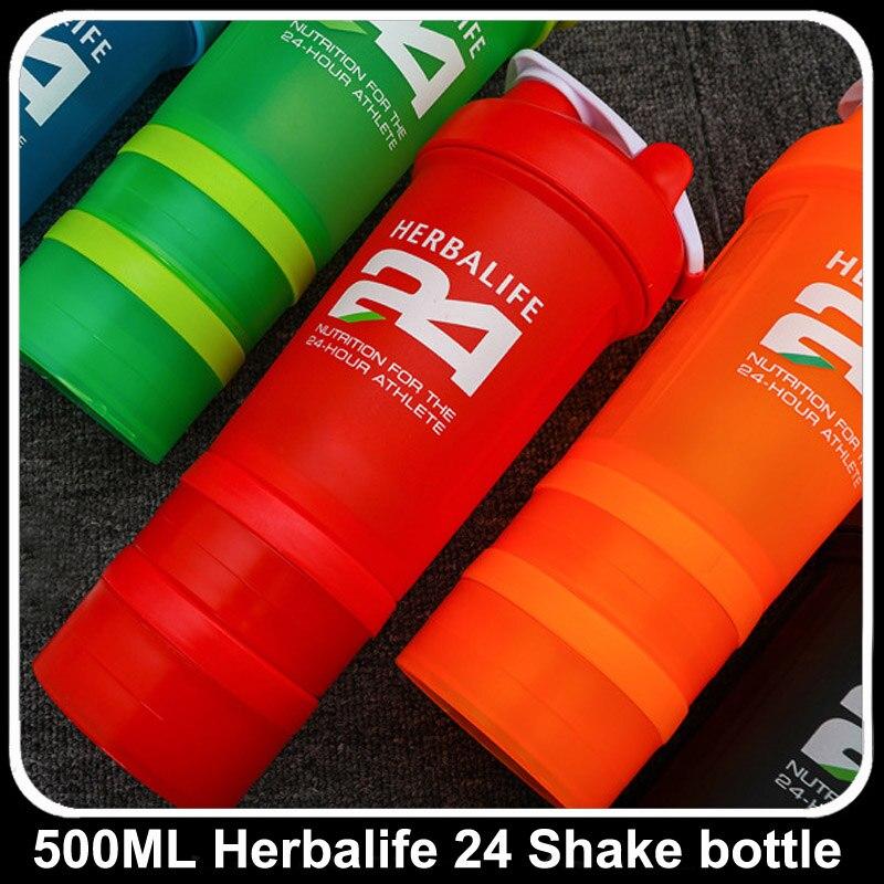 6 cores fábrica atacado 500ml 600ml garrafa herbalife nutrição leite agitação garrafa de água inoxidável bola esportes 3 camada garrafa