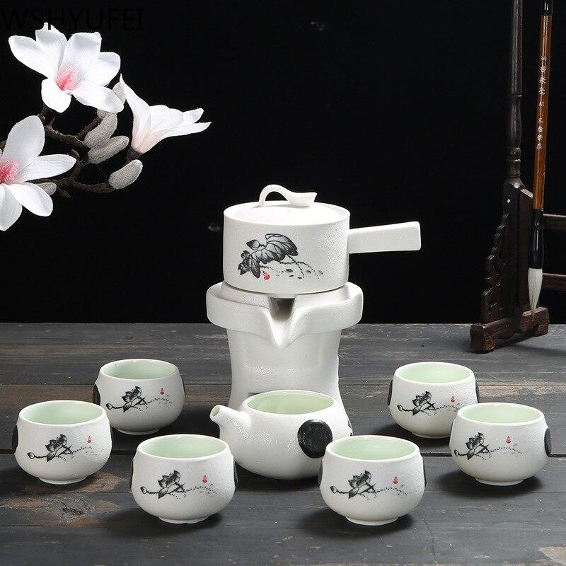 9 pcs/set Chinese Ceramics Lazy Man Tea Set Portable stone grinding semi-automatic teaware Strainer teacup Tea ceremony supplies