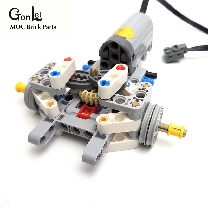 High-Tech Drive Front Suspension Steering System Kit with Electric Power Functions Servo Motors MOC Building Block Brick DIY Toy