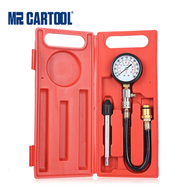 MR CARTOOL G324 0-300PSI Compression Engine Cylinder Tester Gasoline Pressure Gauge Tester Kit  Car Diagnostic Tool