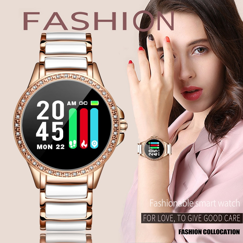 LIGE-reloj inteligente deportivo de mujer, reloj inteligente de lujo con control del ritmo cardíaco y correa de cerámica para Android e IOS, reloj inteligente de mujer