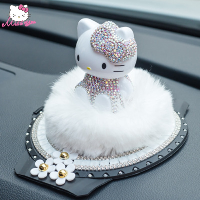 Ambientador de coche Lucky Kitty, soporte para decoración de coche, Diamante de imitación, Perfume para coche de Hello Kitty, accesorios para el coche, decoración para el baño y el hogar