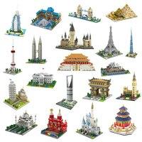 YZ Architecture Taj Mahal Castle Pisa Louvre Museum Leaning Tower Khalifa Tower Bridge Mini Diamond Blocks Building Toy no Box
