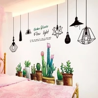 potted plant wall stickers diy chandelier lights mural decals for living room kids bedroom kitchen home decoration