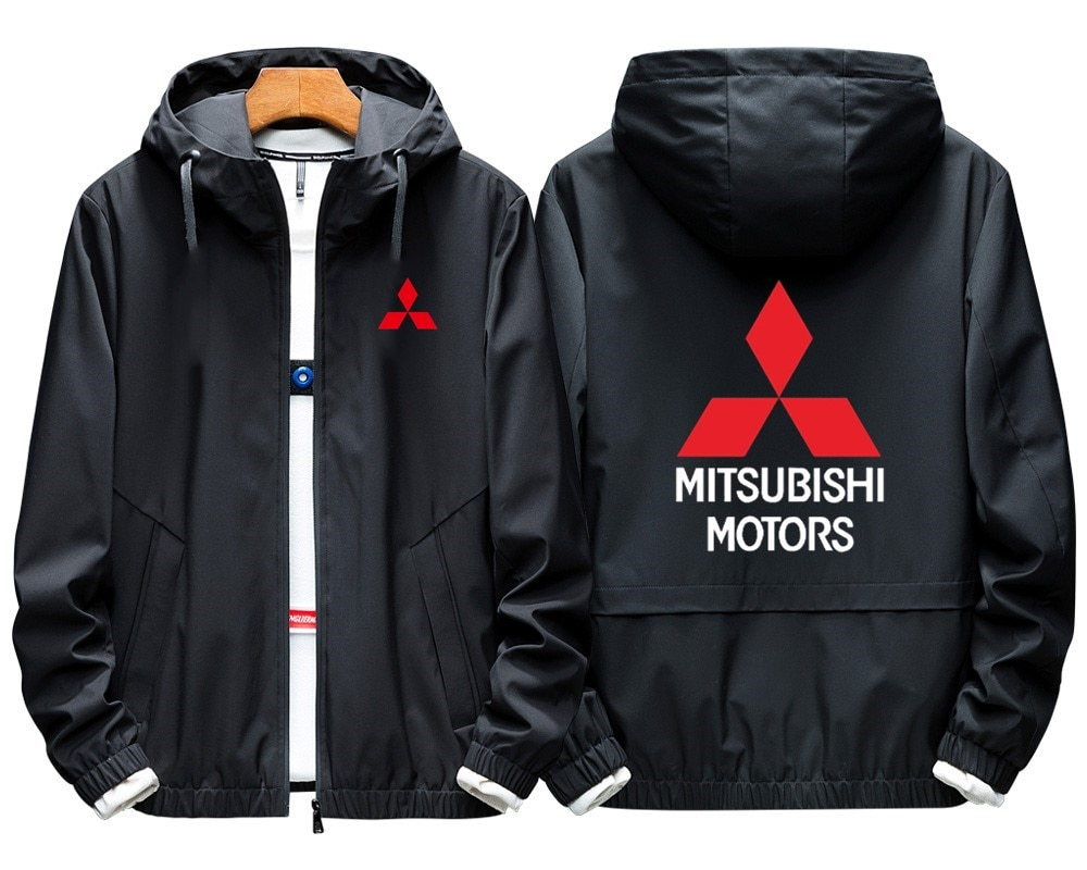 Sudadera con capucha de talla grande para hombre, Sudadera con capucha de letra de cordel Mitsubishi, abrigos delgados con cremallera de manga larga, chaquetas casuales para hombre