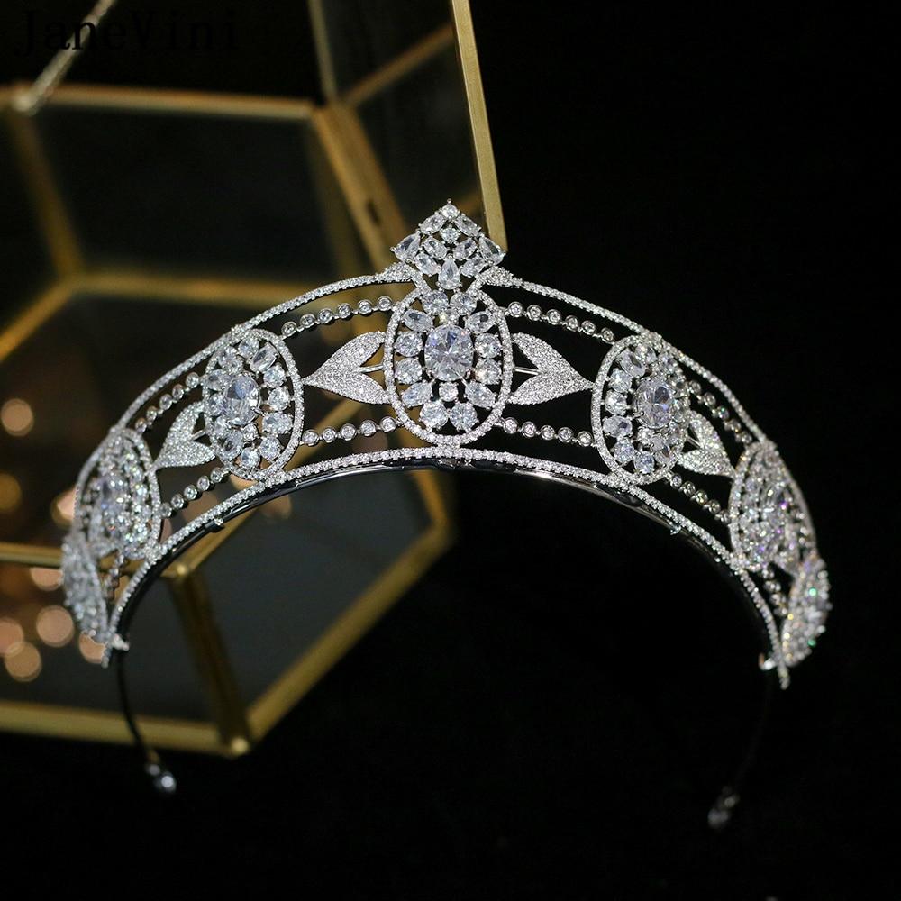 JaneVini 2020 Luxury Silver Bridal Crowns and Tiaras European Style Princess Headdress Crystal Wedding Jewelry Hair Accessories