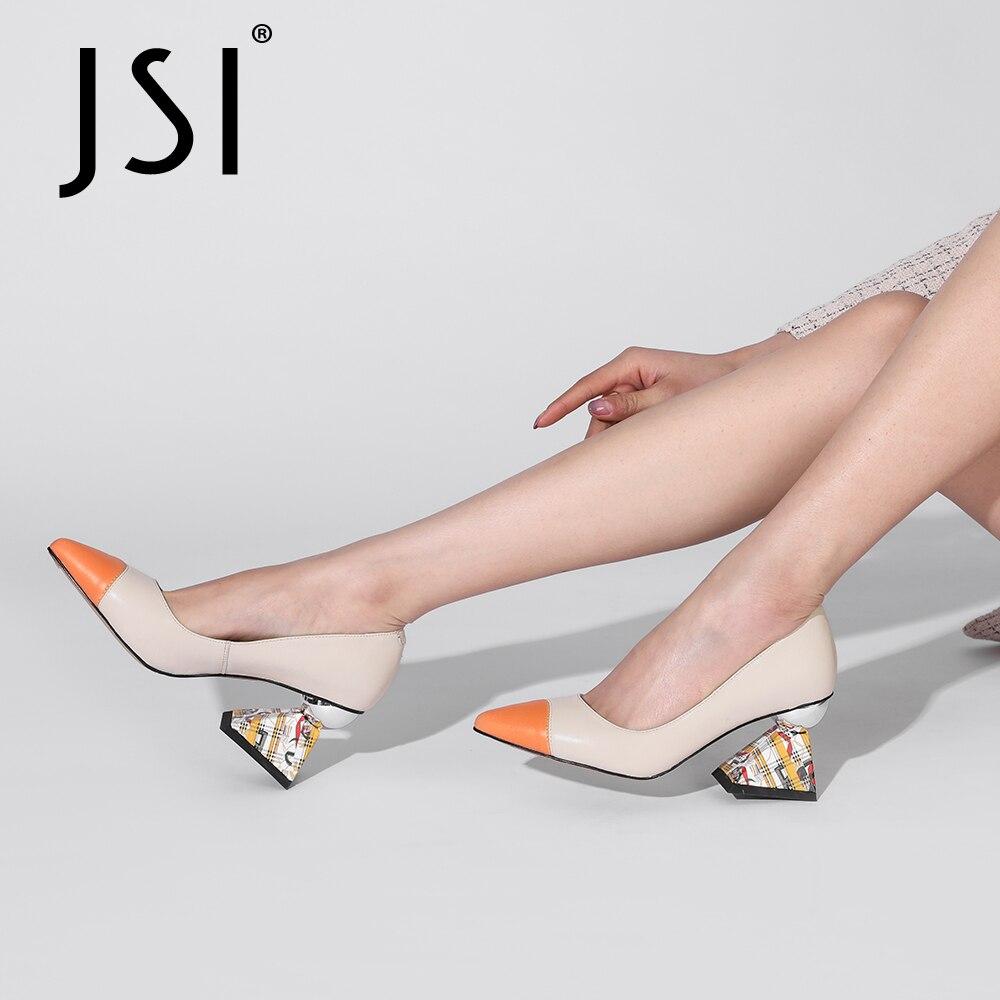 Senhora do Escritório Bombas Primavera Outono Mulher Rasa Genuien Couro Retalhos Apontou Toe Alto Salto Estranho Sapatos Jk14 Jsi