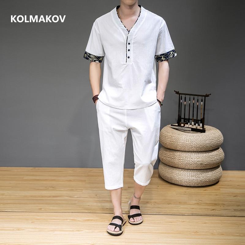 (قميص + بنطلون) 2021 الصيف موضة الرجال قميص القطن و قميص كتان الرجال قمصان غير رسمية الرجال كامل الحجم M-5XL