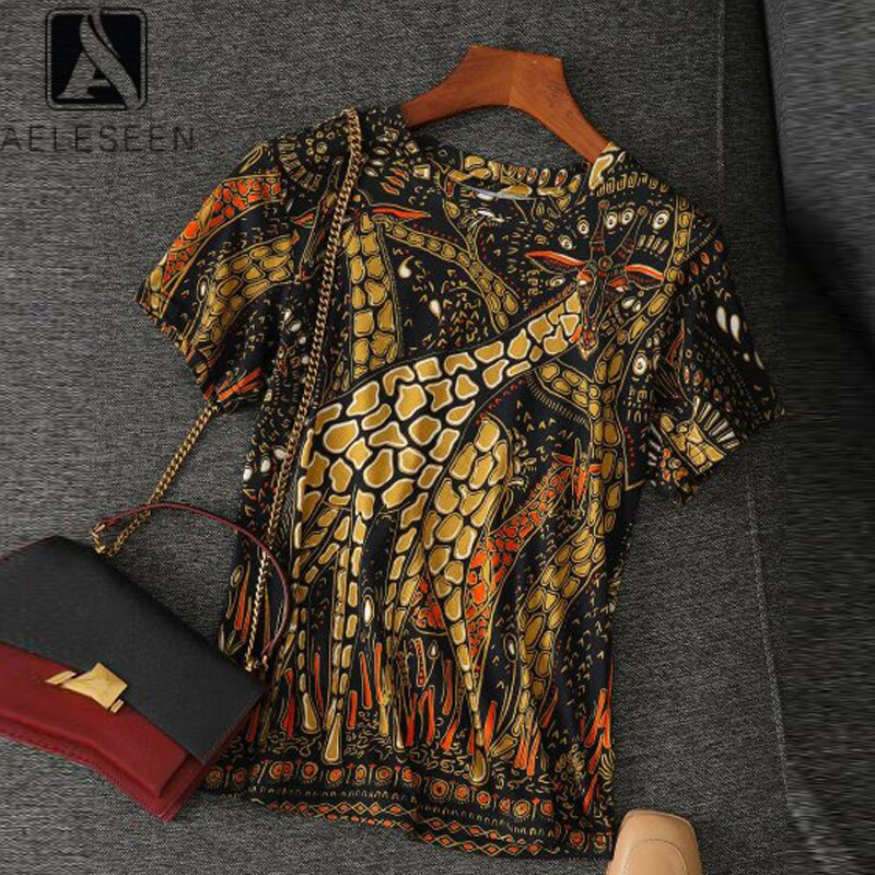 AELESEEN 100% Cotton T-Shirt 2020 Runway Fashion High Quality Flower Print Vintage Casual Holiday T-Shirt