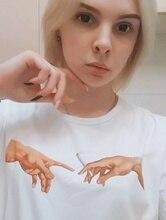 Michelangelo HAHAYULE-JBH Fumaça Mão Gráfico Tee Verão Moda unissex das mulheres dos homens t-shirt 100% Algodão o pescoço t-shirt das mulheres top