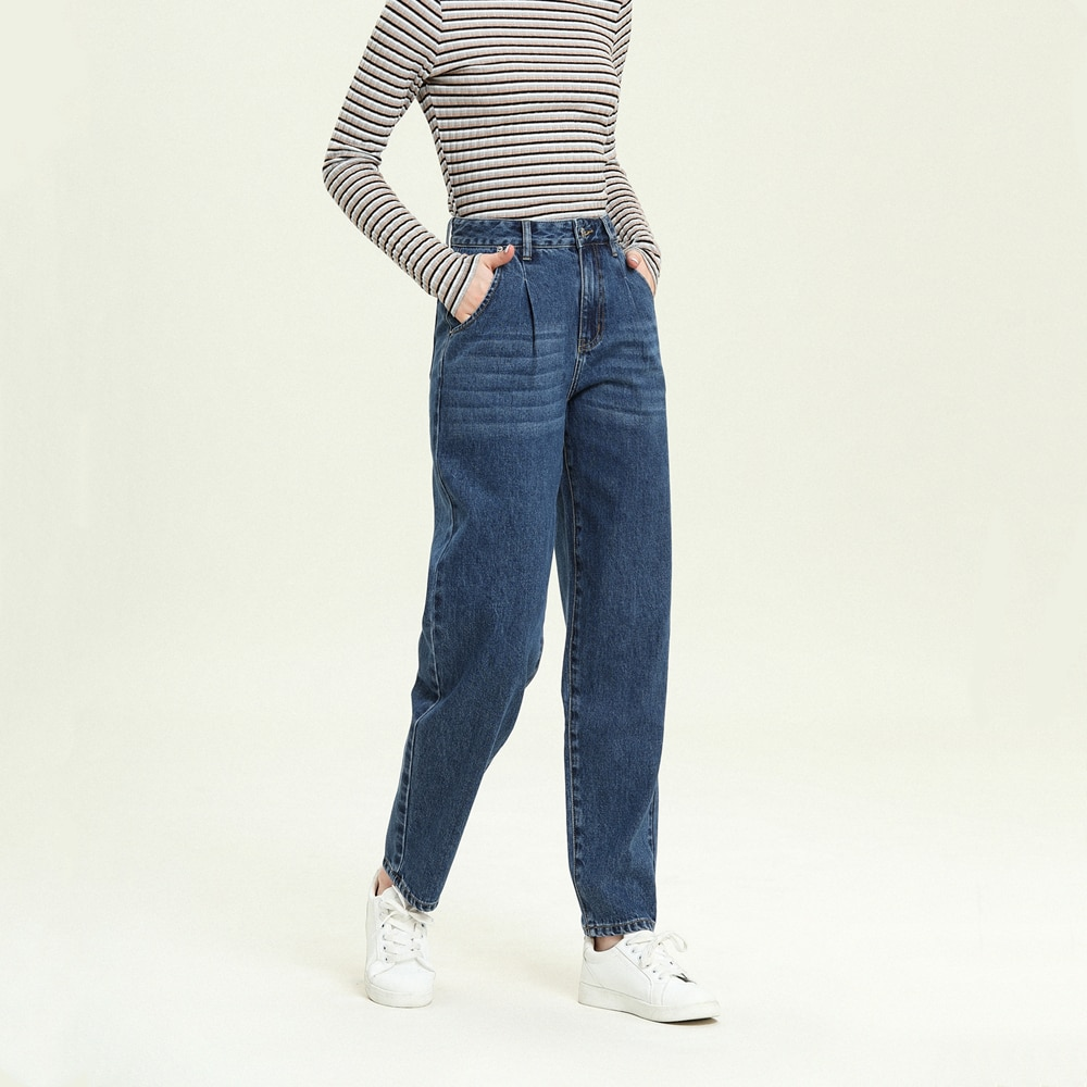 Female Trousers 2021 Autumn Winter Blue Washed High Waist Harem Jeans Denim Pants Loose for Woman Casual