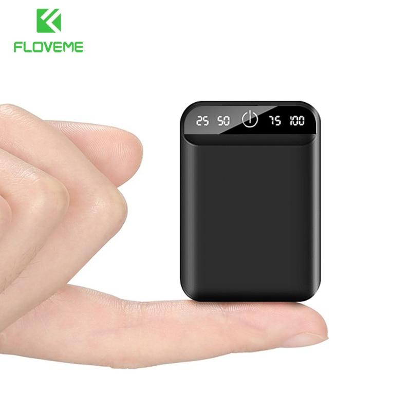 Floveme mini banco de potência dupla usb portátil 10000 mah bateria externa 6000 mah powerbank display digital poverbank para iphone 11 78
