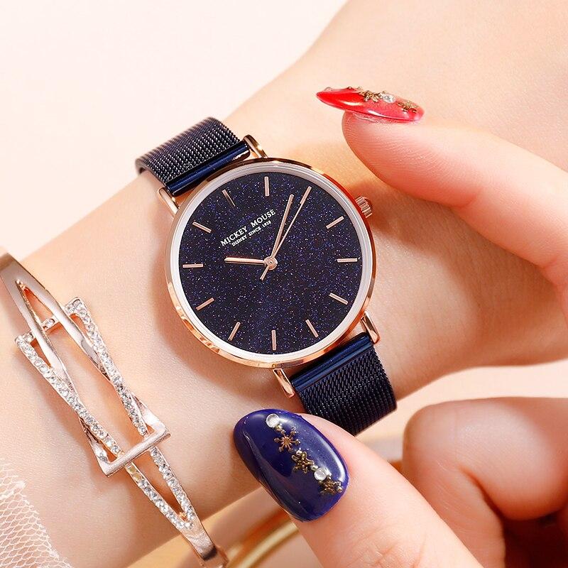 Relojes Disney para mujer, relojes de pulsera a la moda de acero inoxidable con correa de cuero cielo Estrella Brillante, relojes de pulsera de cuarzo para chicas Mickey, reloj de regalo