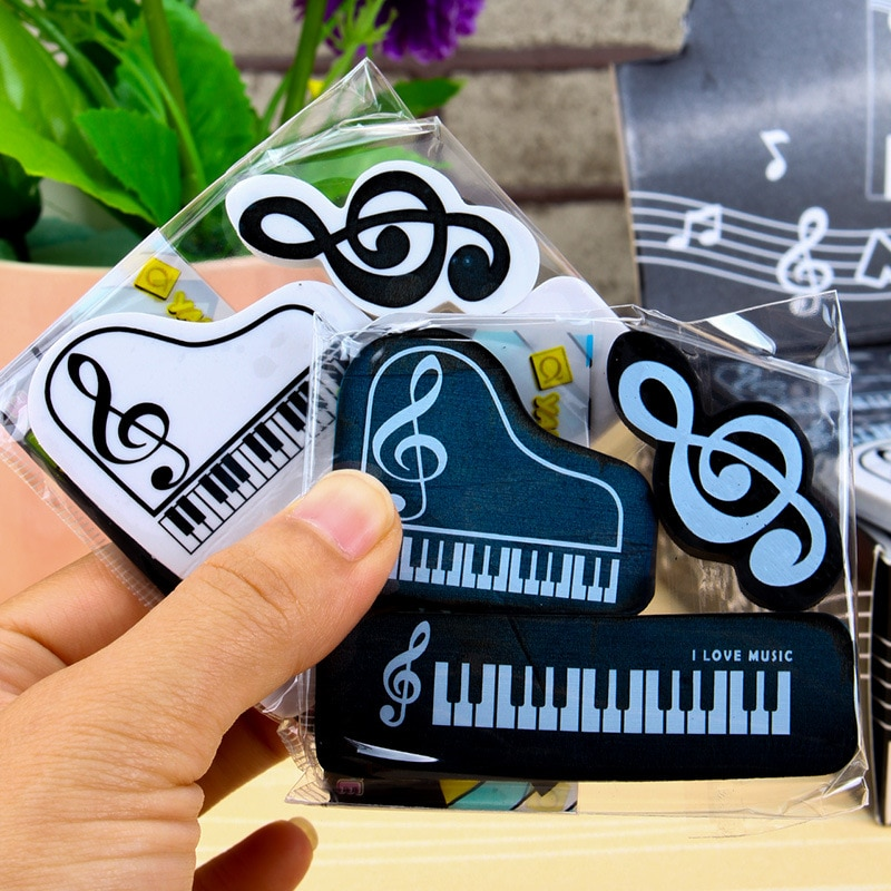 3pcs/set Musical Piano Notes Rubber Pencil Eraser School Student Stationery Correction Supplies For Kids Gifts 3pcs set cat paw erasers kawaii stationery pencil cap erasers for kids correction tools pen topper eraser set school supplies