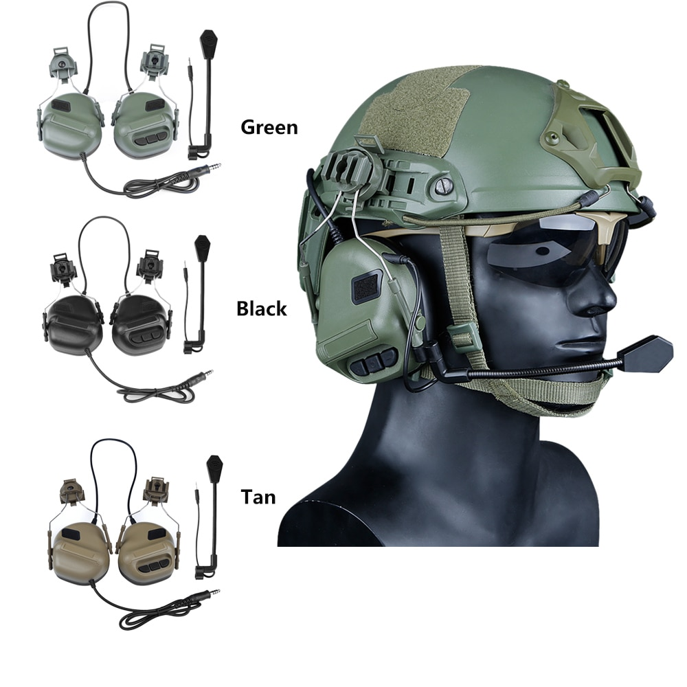 Helmet Mounted Tactical Headset Military Airsoft Headphones With Rail Adapter For Fast Helmet Hunting Communication Accessories