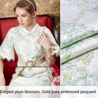 gold silk small plum three dimensional yarn dyed jacquard fabric sewing fabric factory shop is not out of stock