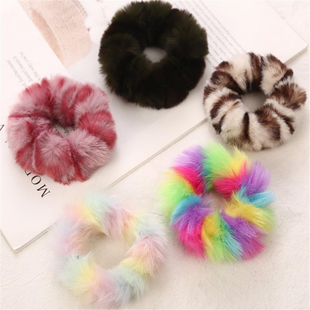 1 Pza bandas elásticas para el pelo con estampado de leopardo de felpa para niñas accesorios para el cabello