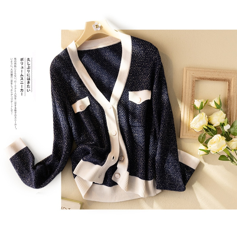 Shuchan 90.8% Wool Knit Sweater Cardigan Autumn Winter New 2021 V-Neck  England Style  Single Breasted Thick Fashion Tops enlarge
