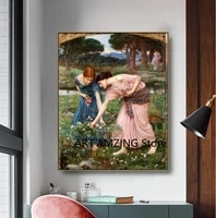 figure art wall oil painting canvas poster the gather ye rosebuds while ye may by john william waterhouse for living room decor