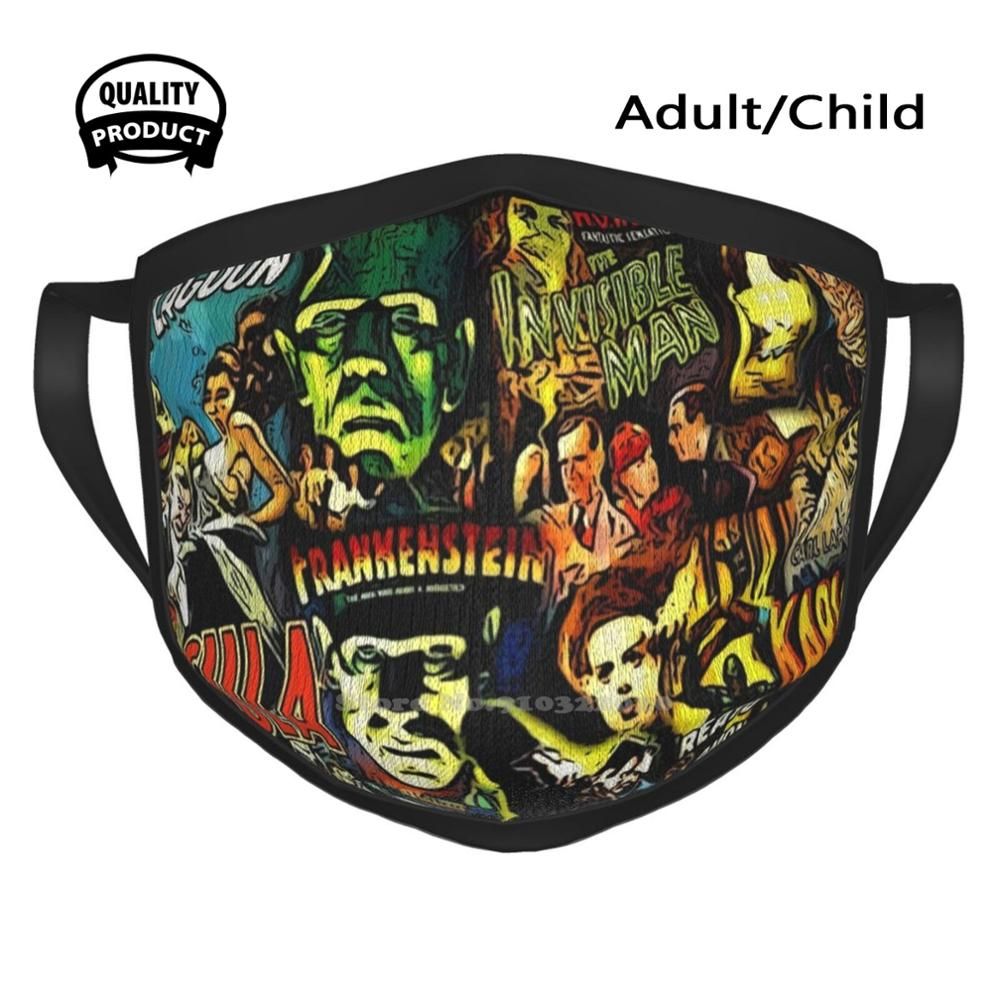 Horror Cult Universal Monsters Movies Face Mask Winter Spring Print Mouth Mask Horror Scary Cult Movie Social Distancing