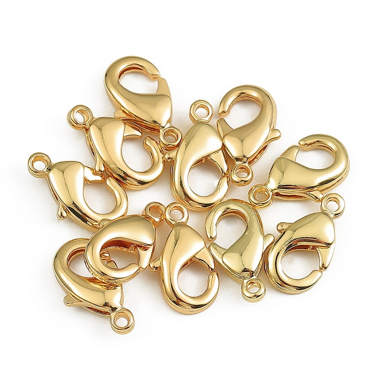 Cierres de langosta chapados en cobre de oro verdadero de 18K, para pulseras, ganchos de collares, accesorios de cierre de cadena para la fabricación de joyas
