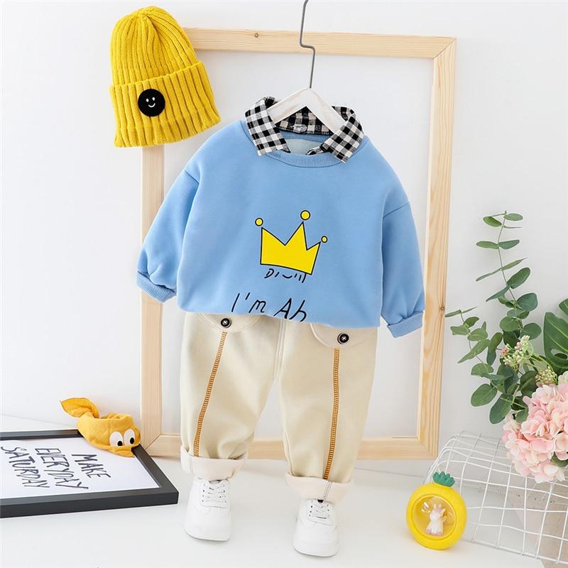 HYLKIDHUOSE, ropa infantil para bebés de otoño 2019, conjuntos de ropa para bebés y niños, Tops cálidos de felpa, pantalones, disfraz para niños