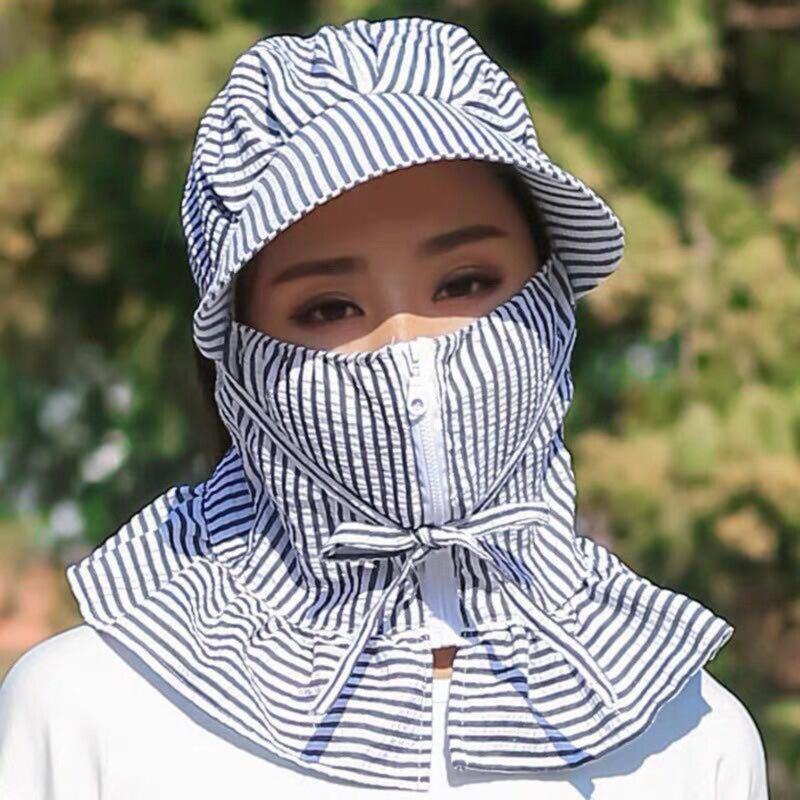 Sombreros de verano para mujer, a la moda, a prueba de viento, protectores contra el sol, al aire libre para ciclismo, sombreros de verano a rayas, gorros de cara completa para mujer