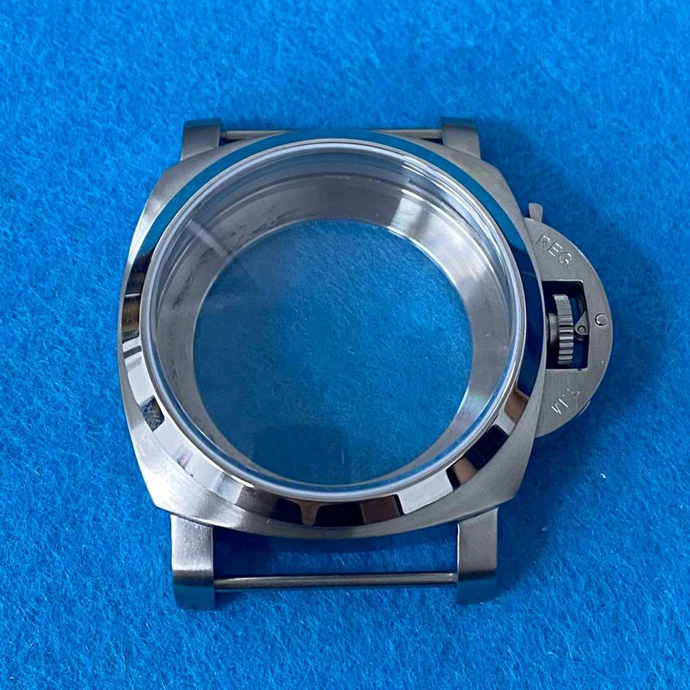 44 مللي متر 316 إسكان الساعة من الفولاذ المقاوم للصدأ الزجاج المعدني ضوء الرمال 1950 حالة مناسبة ل ETA 6497/6498 النورس ST3600/ST3620 حركة