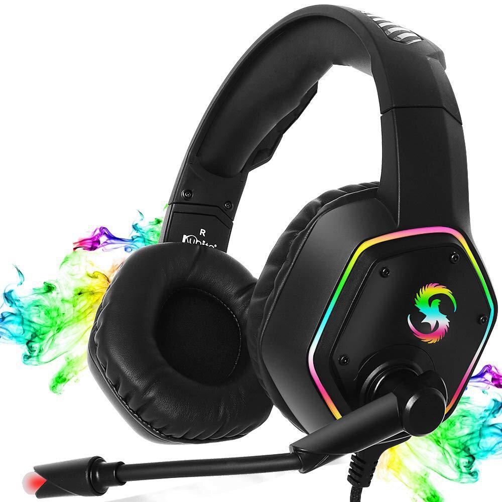 سماعات ألعاب احترافية PS4 مع ميكروفون RGB LED ، سماعات رأس استريو ثلاثية الأبعاد ، تقليل الضوضاء ، سماعات موسيقى للكمبيوتر اللوحي