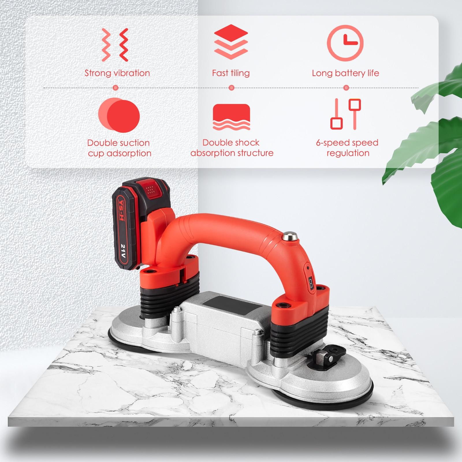 21V Professional Ceramic Tile Tiler Tiling Machine Double Suction Cup Tile Tiler Machine With Battery For Kitchen Living Room